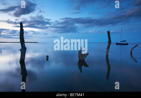 High Tide at Twilight at Thornham on the North Norfolk Coast - Stock Photo