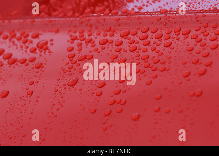 Raindrops on Motor Car Paintwork - Stock Photo