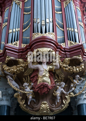 The famous organ in Sint-Bavokerk inside Sint-Bavokerk (or St Bavo church), Haarlem , Netherlands - Stock Photo