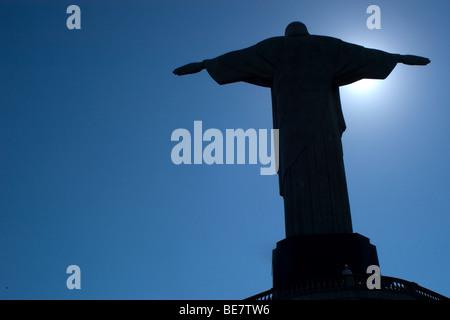 Christ the Redeemer statue, chosen one of the seven wonders of the modern world, Rio de Janeiro, Brazil - Stock Photo
