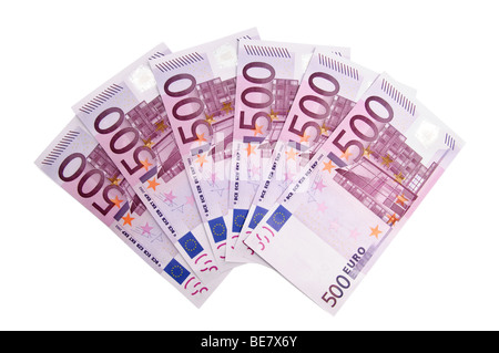 3000 Euro in five hundred banknotes - Stock Photo
