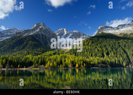 Lake Antholzer See with larches in autumn colours and Ohrenspitze, Riesenfernergruppe range, South Tyrol, Italy - Stock Photo