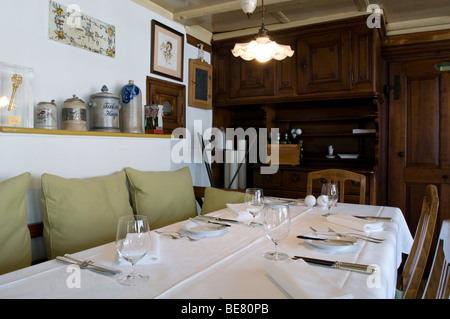 Ready laid table with table settings, Restaurant Taverne Zum Schaefli, Owner and head chef Wolfgang Kuchler, Wigoltingen, - Stock Photo