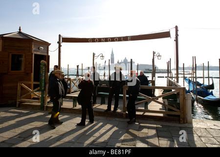 Quay at St Mark's Square with Gondolas and the view to San Giorgio Maggiore Island, Venice, Italy, Europe - Stock Photo