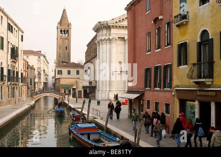 View from Ponte dei Pugni onto Campo Barnaba, Venice, Italy, Europe - Stock Photo