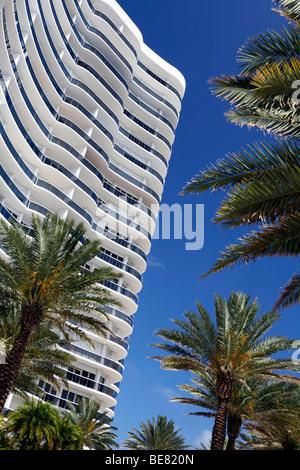Apartment building under blue sky, Majestic Towers, Surfside, Miami Beach, Florida, USA - Stock Photo