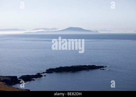 The West coast of Ireland and Galway taken from Achill island in the Atlantic Ocean just off Ireland - Stock Photo