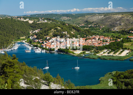 View at the town of Skradin at Krka river, Krka National Park, Dalmatia, Croatia, Europe - Stock Photo