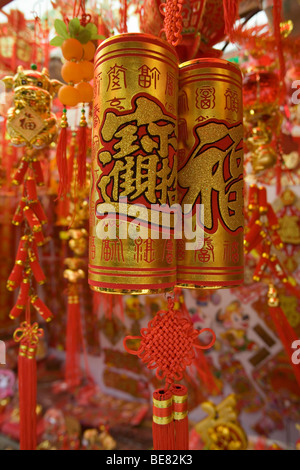 Colorful Chinese New Years Decorations in Chinatown, Singapore, Asia - Stock Photo