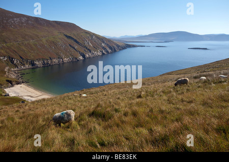 The beach of Keem strand on Achill island in County Mayo in Ireland - Stock Photo