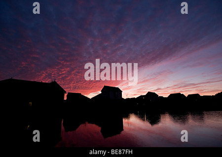mackerel sky sunset over dudley port canal in tividale - Stock Photo