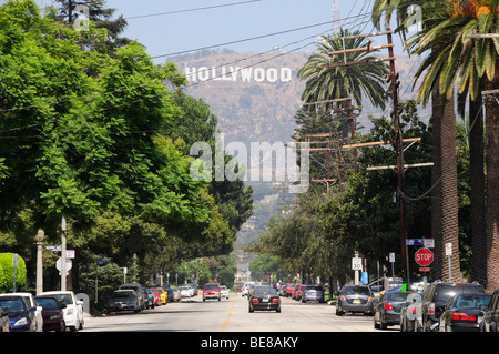 USA, California, Los Angeles, Hollywood sign from Beechwood Drive. - Stock Photo