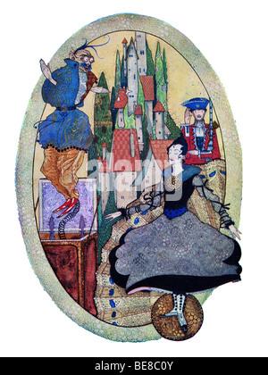 Harry Clarke Art Nouveau Print Illustration Fairy Tales Hans  Andersen first Coker & Co 1919 THE HARDY TIN SOLDIER - Stock Photo