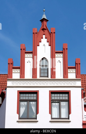 Gabled house on the market square of the Hanseatic city of Wismar, UNESCO World Heritage Site, Mecklenburg-Western - Stock Photo
