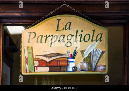 Sign for a stationery shop in the centre of the old town, Siena, Tuscany, Italy - Stock Photo