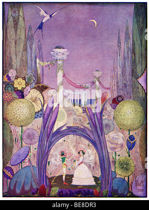 Harry Clarke Art Nouveau Print Illustration Fairy Tales from  Hans  Andersen first  Coker Co 1919 from THUMBELINA - Stock Photo