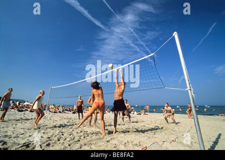 Volleyball at Timmendorf Beach, Luebeck Bay, Baltic Sea, Germany, Europe - Stock Photo