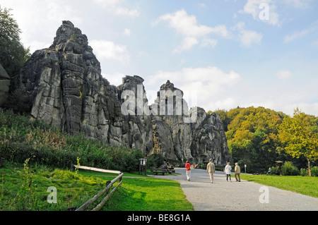 Externsteine sandstone rock formation, nature reserve, Horn Bad Meinberg, Teutoburg Forest, Kreis Lippe district, - Stock Photo
