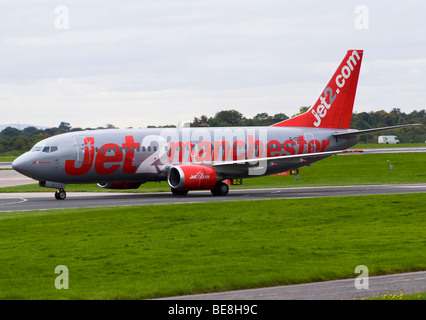Jet 2.Com [Jet2] Airline Boeing 737-330 Airliner Taxiing After Landing at Manchester Ringway Airport England United - Stock Photo