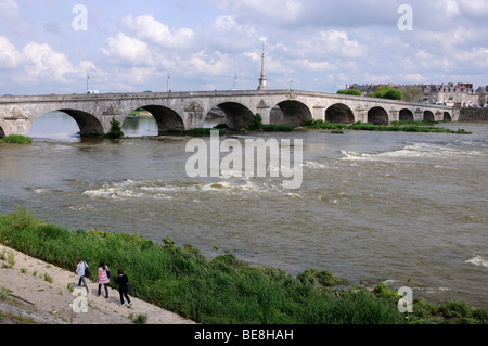 Pont Jacques Ange Gabriel across the river Loire, Blois, Loir et Cher, Centre, France. - Stock Photo
