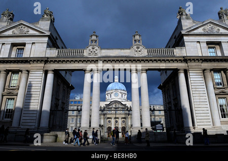 Government Buildings on Merrion Square in Dublin Ireland - Stock Photo