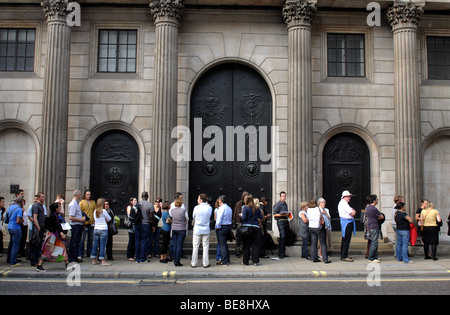 Queue outside Bank of England during Open House weekend, London, England, UK - Stock Photo