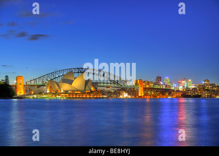 Sydney Opera House, Sydney Harbor Bridge, Kirribilli, night, Sydney, New South Wales, Australia - Stock Photo