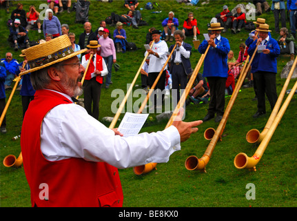 Conductor of a group of Alphorn blowers at the shepherd festival on Gemmi, Leukerbad, Loèche-les-Bains, Valais, - Stock Photo