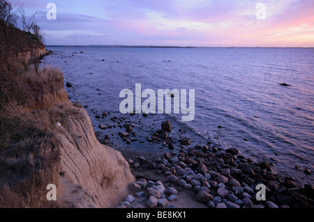 Evening on the beach of the Baltic Sea, cliffs of Poel island, Mecklenburg-Western Pomerania, Germany, Europe - Stock Photo