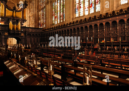 Choir stalls with organ of the 'King's College Chapel', founded in 1441 by King Henry VI., King's Parade, Cambridge, - Stock Photo