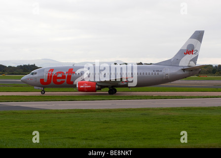 Jet 2.Com [Jet2] Airline Boeing 737-33A Airliner Taxiing After Landing at Manchester Ringway Airport England United - Stock Photo