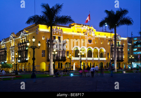 Municipal Palace in Plaza Mayor, formerly Plaza de Armas, in downtown Lima,capital of Peru - Stock Photo