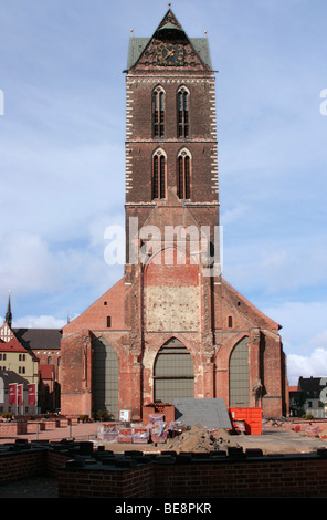Remaining tower of the destroyed St. Mary's Church in the Hanseatic city of Wismar, UNESCO World Heritage Site, - Stock Photo