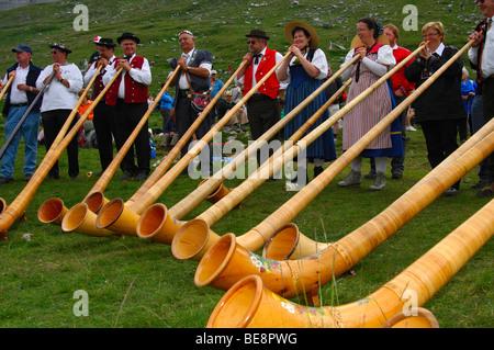 Alphorn blowers at the shepherd festival on Gemmi, Leukerbad, Loèche-les-Bains, Valais, Switzerland, Europe - Stock Photo