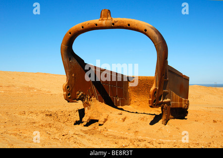 Large bucket of a dragline, De Beers Namaqualand diamond mine, Kleinzee, Northern Cape, South Africa - Stock Photo