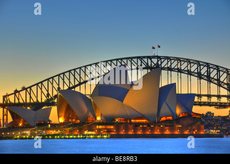 Sydney Opera House, Sydney Harbor Bridge, night, Sydney, New South Wales, Australia - Stock Photo