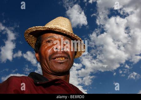 Rice farmer in Antsirabe, central highlands, Madagascar, Africa