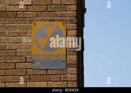 A fallout shelter sign on the side of a building in Boston MA. - Stock Photo