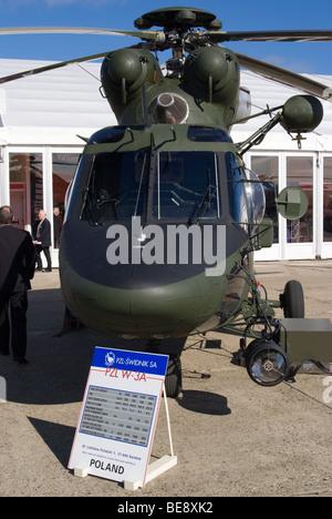 PZL-Swidnik W-3A RL Sokol Helicopter 0417 at helitech Trade Show Duxford Aerodrome Cambridgeshire England United - Stock Photo