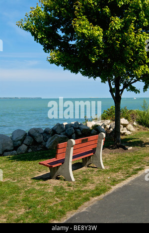 park bench under tree in Lakeside, Ohio - Stock Photo