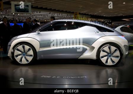 Renault Zoe ZE concept electric car at a European motor show - Stock Photo
