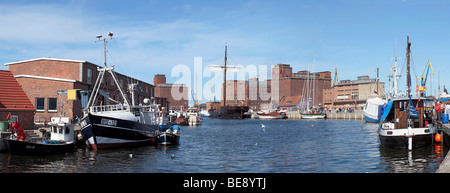 Panoramic view, port of Wismar, UNESCO World Heritage Site, Mecklenburg-Western Pomerania, Germany, Europe - Stock Photo