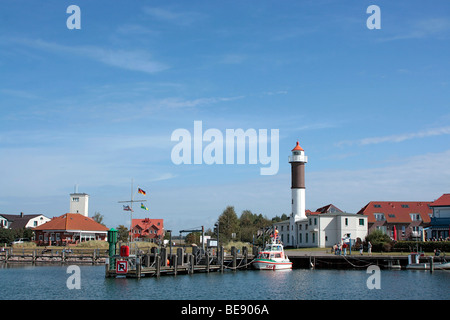 Port of Timmendorf with lighthouse, Poel island, Mecklenburg-Western Pomerania, Germany, Europe - Stock Photo