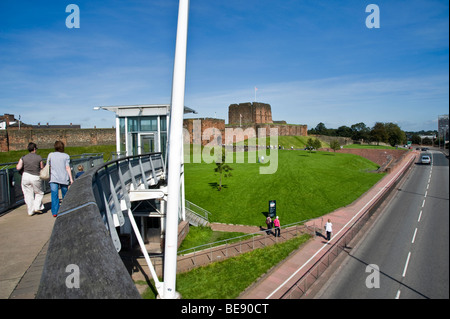 Carlisle, Cumbria. Castle Way, looking from the Millennium Bridge with Carlisle Castle in centre - Stock Photo