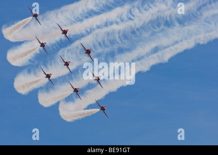 Red arrows display team performing at RAF Leuchars airshow 2009 - Stock Photo