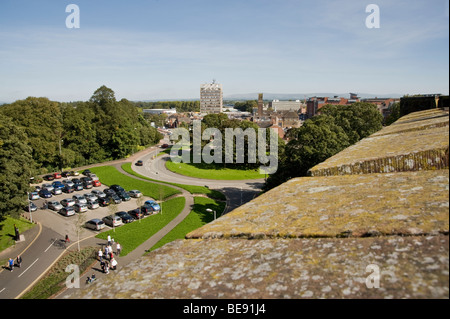 Looking towards Carlisle from Carlisle Castle with town hall in centre of photo Cumbria, England, UK - Stock Photo