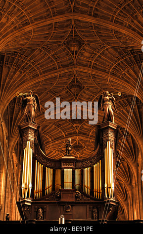 Organ and Gothic fan vaulting in King's College Chapel, founded in 1441 by King Henry VI., King's Parade, Cambridge, - Stock Photo