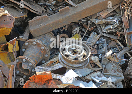 Scrap on a barge, DuisPort, Duisburg, North Rhine-Westphalia, Germany, Europe - Stock Photo