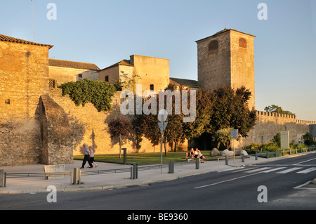 Part of the medieval city walls with watchtower, Evora, UNESCO World Heritage Site, Alentejo, Portugal, Europe - Stock Photo