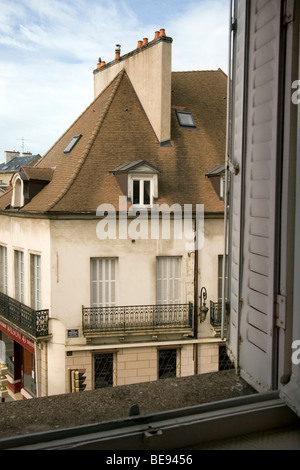 view from window, Rue Pasteur, Dijon, France - Stock Photo